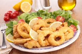 seafood calamari fried food