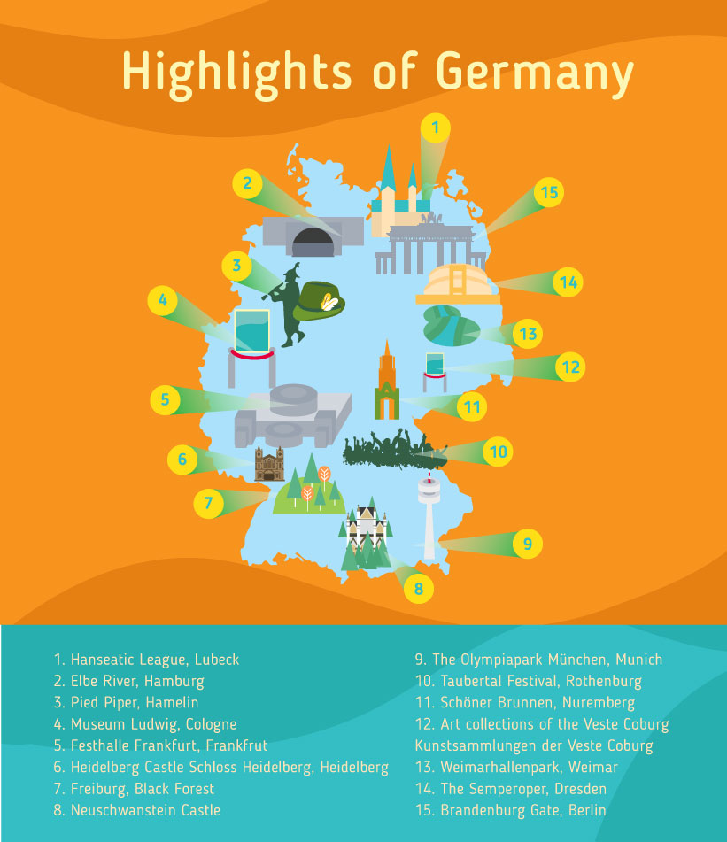 Places to go to in Germany, Map of Germany