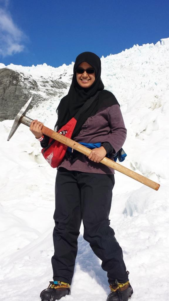 Aliya during her internship at the Franz Josef Glacier
