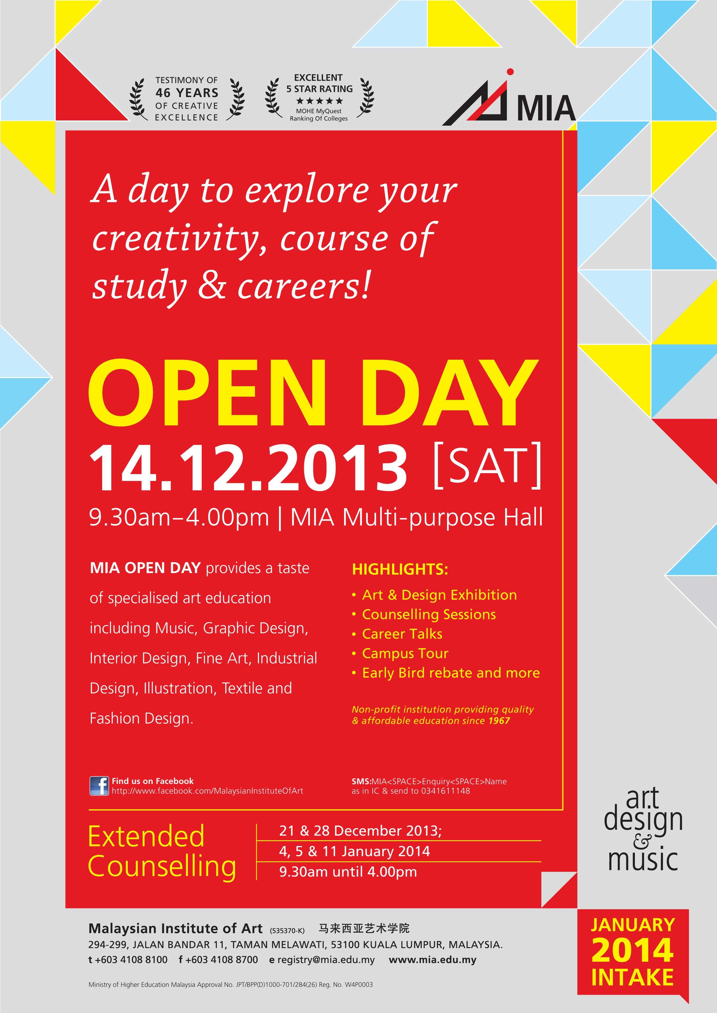 Malaysian Institute Of Art Mia Open Day 14 Dec 2013 Www Easyuni Com